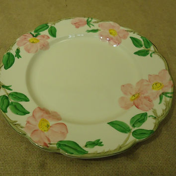 Franciscan Vintage Dinner Plate 10 5/8in Floral Desert Rose USA Earthenware -- Used