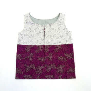 Girls Zipper Front Vest Colorblock Up-cycled Top 5T 6T