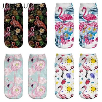 JUMEAUX Women's 3D Print Socks Colorful Flamingo Printed Ankle Socks Hot Cartoon Harajuku Socks For Unisex Autumn Winter New Sox