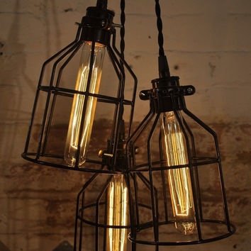 Black Metal Bulb Cage Guard Chandelier Light Pendant Hanging Industrial Retro