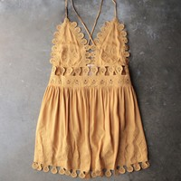final sale - summer lace mini dress - chloe yellow
