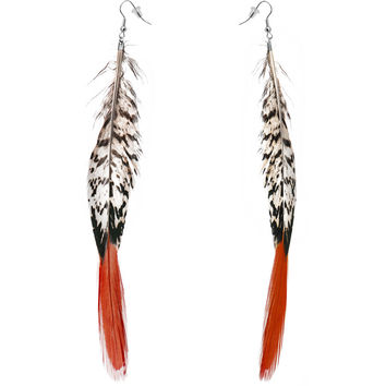 Natural Glam Drop Feather Earrings
