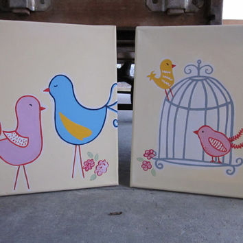Fancy Birds - Handpainted Paintings Set Wall Decor Art for Nursery, Kids Room - You customize! - Inspired by Pottery Barn