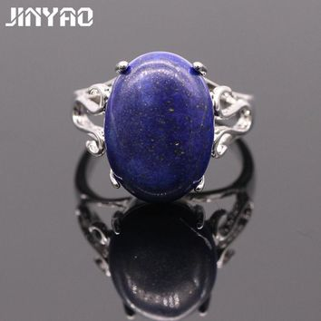 JINYAO Vintage Lapis Lazuli Simple White Gold Color Oval Lapis Lazuli Ring For Women Bridal Fashion Jewelry