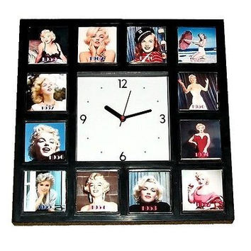 Marilyn Monroe faces through the years 1946-1964 Clock with 12 pictures