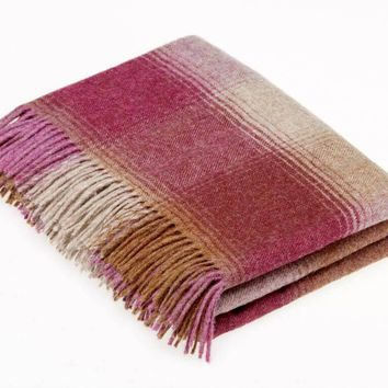 Shetland Quality - Pure New Wool - Kilnsey - Berry - Throw Blanket