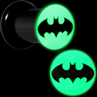 2 Gauge Black Acrylic Glow in the Dark Batman Plug Set | Body Candy Body Jewelry