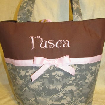 Handmade ACU digital camo camoflauge diaper bag you choose name and accent color
