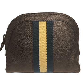 Gucci Women's Small Classic Web Leather Cosmetic Case Brown 339558