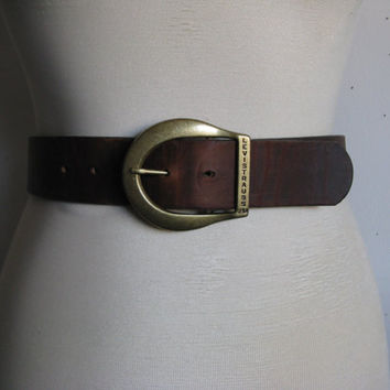 Vintage 1980s Leather Belt Levi Strauss 80s Dark Brown Rustic Mens Cowhide Belt XS