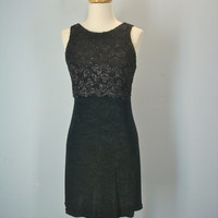 Vintage 80s Little Black Dress / Stretchy Soft Dress / Holiday Party Dress / Lace Black Dress / Small