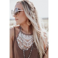 Crochet High Neck Bralette - Ivory