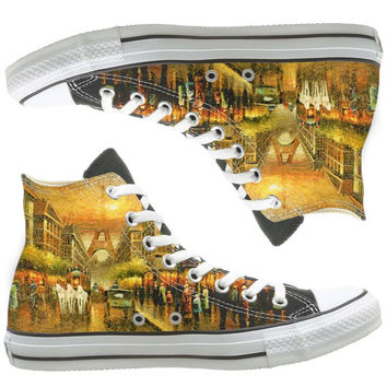 Eiffel tower painted shoes, custom shoes by natalshoes