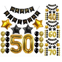 Black and Gold Birthday Balloons Party Decoration- Custom Age