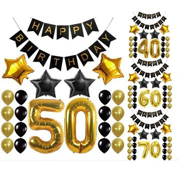 50Th, 60TH, 70TH Birthday Party Decoration Set Black Gold Theme |  Father Party Balloons | Grandpas Birthday | Dads Birthday Party Decor