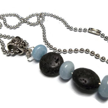 Aquamarine Gemstone Lava Rock Aromatherapy Perfume Pendant Necklace Handmade Yoga and Metaphysical Jewelry