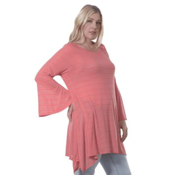 Women's Plus Size Bell Sleeve Tunic Made in USA  1X, 2X, 3X, 4X