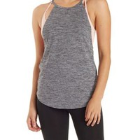 Black Combo Layered High-Neck Sports Bra Tank Top by Charlotte Russe