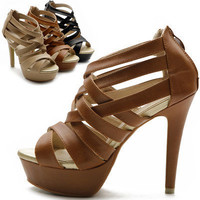 New Womens Shoes Platform High Heels Ankle Strap Multi Colored Sandal
