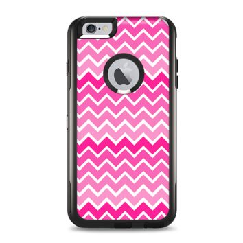 The Pink & White Ombre Chevron V2 Pattern Apple iPhone 6 Plus Otterbox Commuter Case Skin