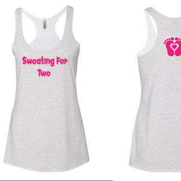 Sweating for Two gym tank top. Mommy to be tank top. gym tank top. yoga tank top. new mom tank top