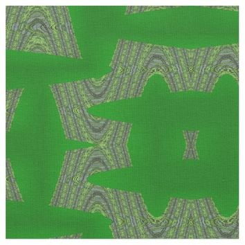 Bold Green Shapes Modern Design Fabric