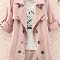 A 082612 z Slim Solid Color Bow Button Coat