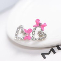 Pink Bow and Sparkly Heart Earrings