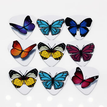 10pcs 0.71mm butterfly two side earrings DIY design guitar accessories pick guitar picks