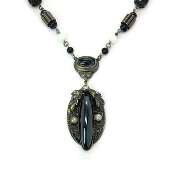 Art Deco Czech Necklace. Black White Glass Pearl Beads Lavalier. Pewter Tone Leaf Accents. Machine Age. Vintage 1930s Long Beaded Jewelry