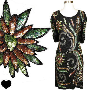 Vintage 80s Dress // Colorful Sequin Black Bead Silk XL Green Gold Metallic Short Sleeve Glam Cocktail Prom Party Sheath 1980s 80's 1980's