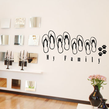 Vinyl Wall Decal Sticker Sandal Family #5033