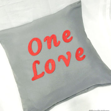 ONE LOVE Grey And Red Modern Typography Valentine Pillow Cover. Couples Gift. Valentine Gift. 17inch Gray Cushion Cover