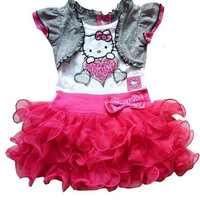 New Real Summer Child Hellokitty Short-sleeve Dress Fashion Kids Cartoon Tutu Dresses Lovely Baby Girls Clothing Alternative Measures - Brides & Bridesmaids - Wedding, Bridal, Prom, Formal Gown