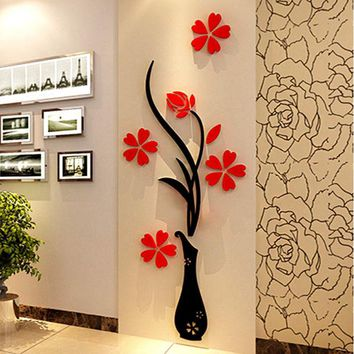 DCK9M2 Vase 3D acrylic crystal three-dimensional wall stickers tv background wall entranceway hallway home decoration