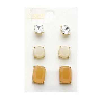 Homaica Stone 3 Pc Set Studs Earrings 1930