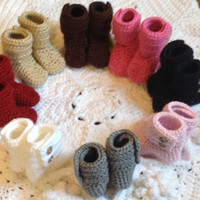 Baby Booties Hand Crochet Shoes, Many Color Choices and Sizes SnuUgs Featuring Button Closure, two Buttons on each Boot