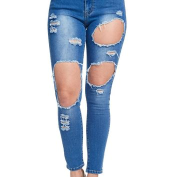 Women's High-Rise Holey Ripped Skinny Jeans RJH820 - KK7D