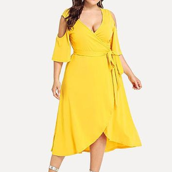 Wipalo Plus Size Cold Shoulder Wrap Women Dress 3/4 Sleeve Bowknot Cut Out Asymmetrical Midi Dresses Casual Summer Party Dress