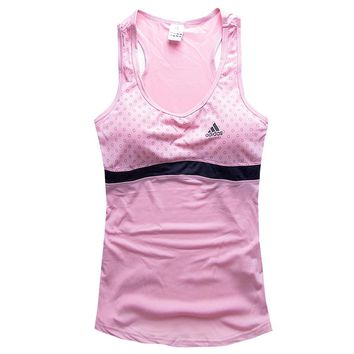 Adidas Woman Fashion Print Gym Sport Cotton Sleeveless Tunic Shirt Top Blouse