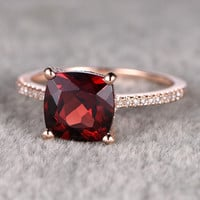 8mm Cushion Garnet Engagement Ring Diamond Wedding Ring 14k Rose Gold Birthstone Stacking Band