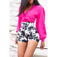 EMPOWERING High Waist Cow Print iAMMI Silk Shorts
