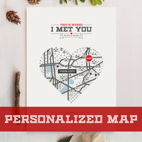Personalized Map Gift, Heart Map, Wedding Gift, Anniversary Gift, Personalized Map Art, Customized Map Art, Custom Location