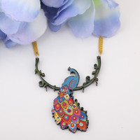 Newei peacock necklace acrylic pattern new pendant accessories spring summer aniaml colorful girls woman fashion jewelry