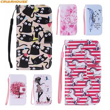 For Apple iPhone 8 7 PLUS 6 6s Plus SE 5 5S 5C 4 4S pu leather phone case flip stand wallet style cartoon Paint cover card solt