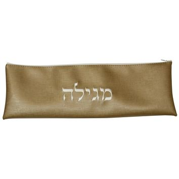"Ben and Jonah Vinyl Purim Megillah Storage Bag/Holder-17""W x 6"" H-Gold with Beige Letters"