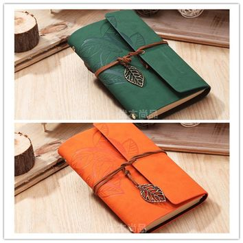 New Listing Retro Leaf Pendant Faux Leather Cover NoteBook Travel Journal Sketchbook Bound Blank Diary