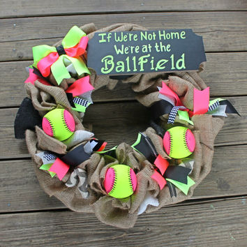 Baseball wreath, softball wreath, burlap baseball wreath, at the ballfield , were not home, sports wreath, coachs gift, baseball mom