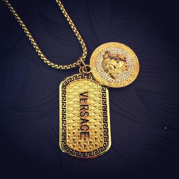 LMFONQ Boys & Men Versace Hip-Hop Accessory Pendant Necklace