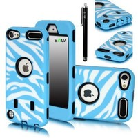 E LV Deluxe Zebra Print Hard Soft High Impact Hybrid Armor Defender Case Combo for Apple iPod Touch 5 5th Generation with 1 Clear Screen Protector, 1 Black Stylus and Microfiber Sticker Digital Cleaner - Blue